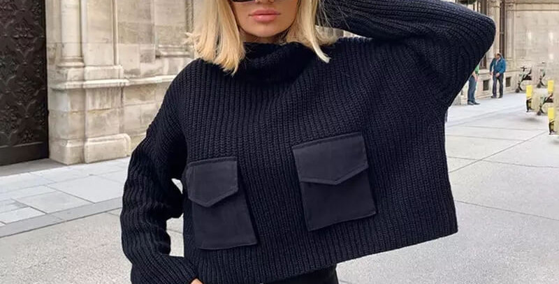 Winter Turtleneck Fashion Pockets Sweater
