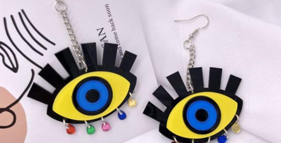 Yellow Eyes Colorful Tears Tassel Acrylic Drop Earrings