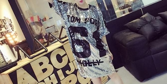 Sequin Glitter Short Sleeve T-Shirt Dress