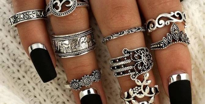 Punk Elephant Flower Hollow Out Silver Rings