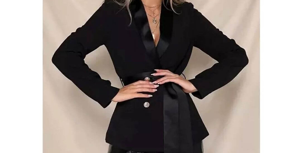 Double Breasted Suit V-Neck Blazer