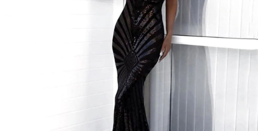 Sequined Backless Mermaid Maxi Dress