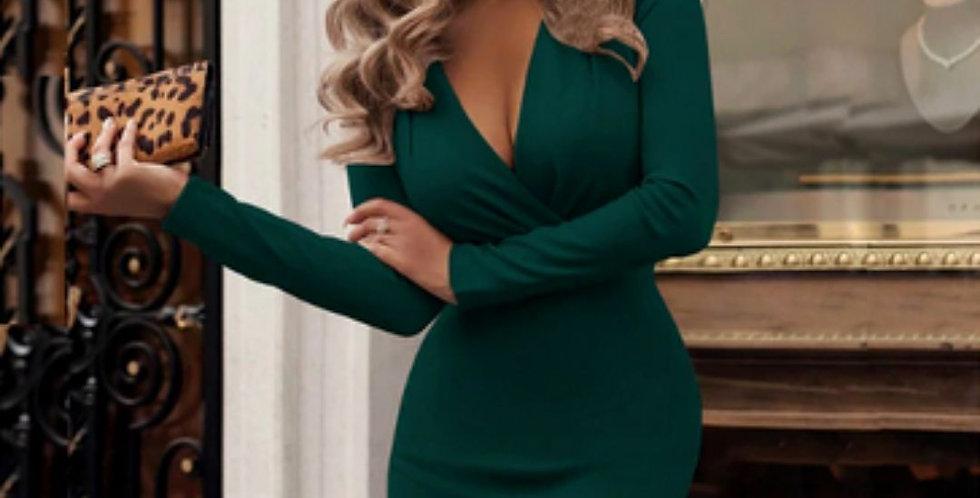 Bandage V-Neck Elegant Green Dress