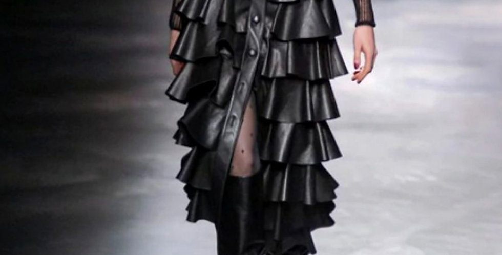 Leather Black Cake Ruffled Skirt