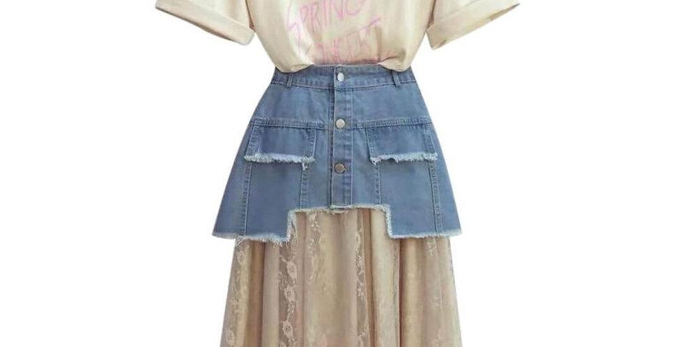 Stylish Casual Jeans Skirt & T-Shirt Set