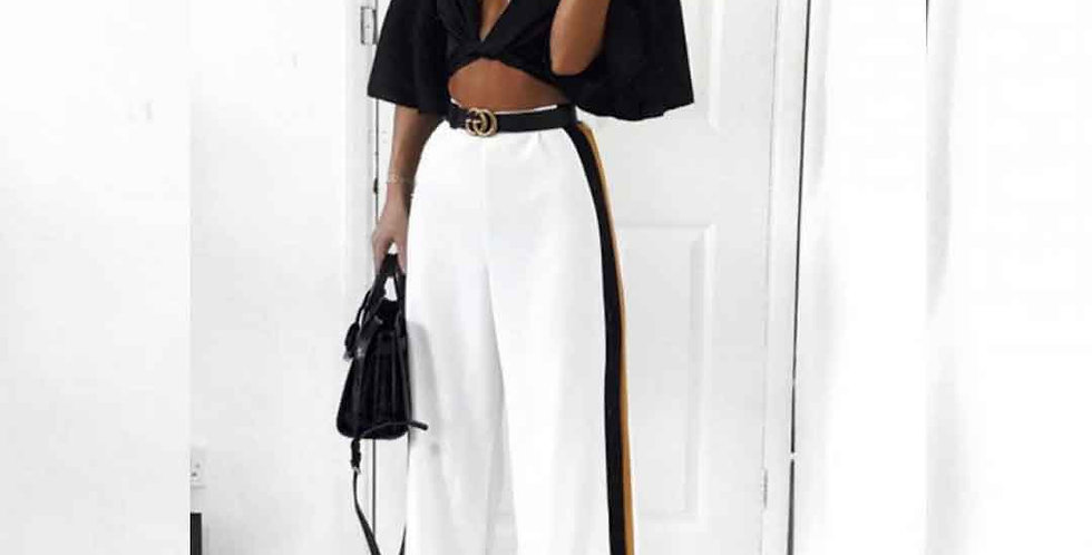 Casual High Waist Bandage Loose Striped Wide Leg Long Pant