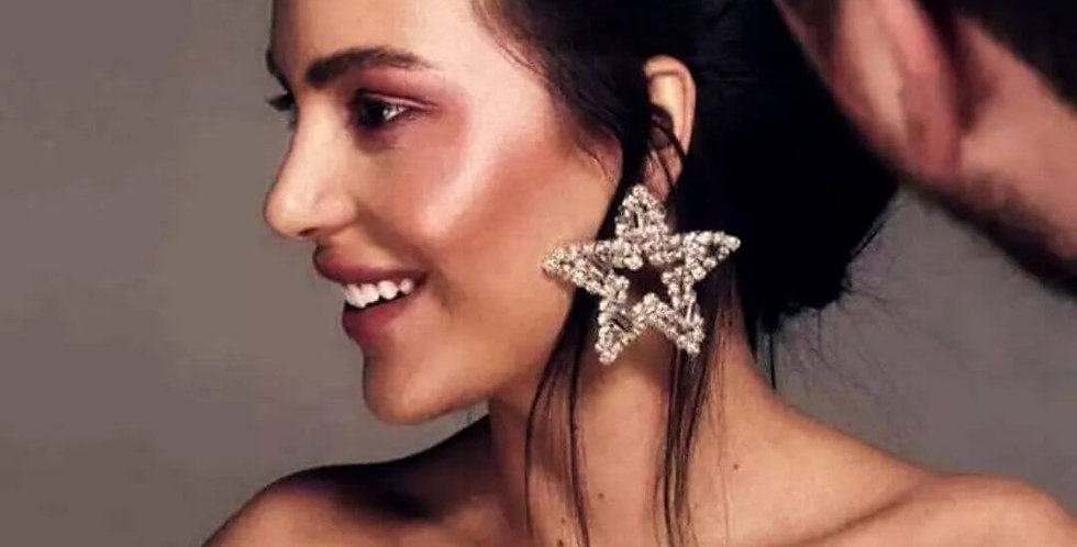 Shiny Rhinestone Star Charms Earrings
