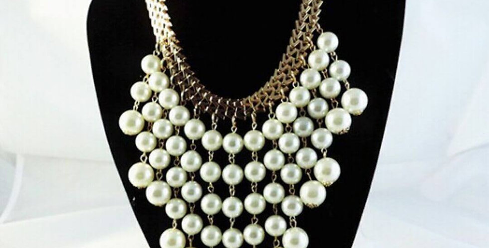 Simulated Pearl Tassel Necklace