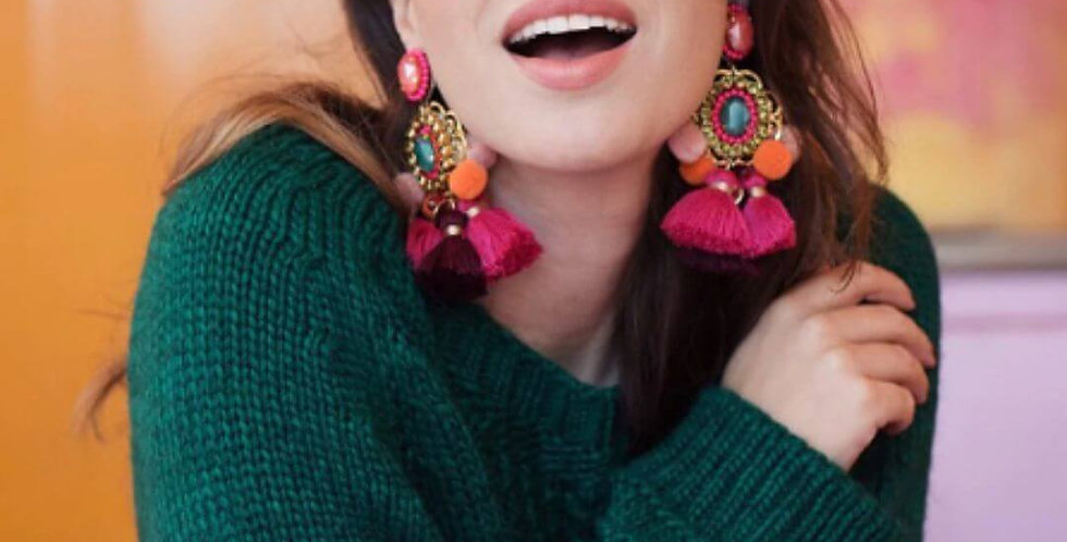 Drop Hairball Handmade Tassel Big Dangle Bohemian Earrings