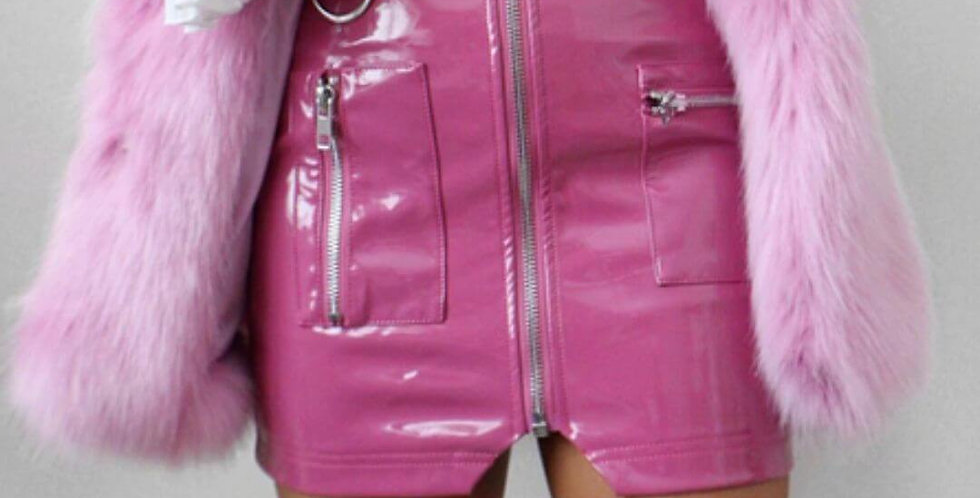 Leather Pencil Pink Skirt