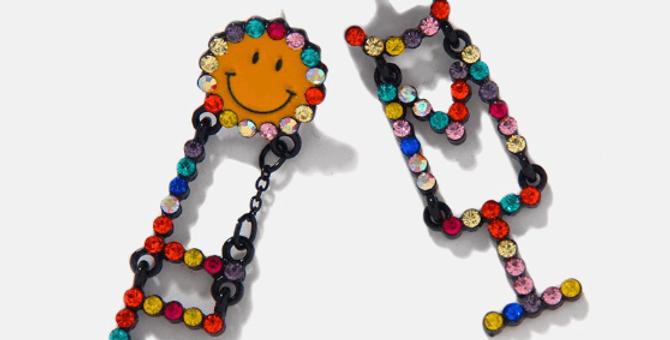 Multicolor Alphabet Smiley Rhinestone Earrings