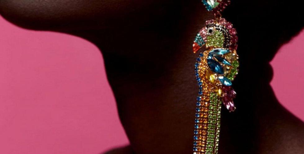 Parrot Statement Tassel Earrings