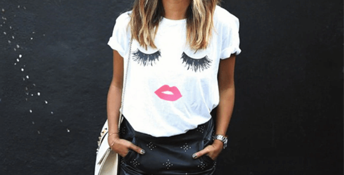 Eye Lashes Red Lip Print T-Shirt