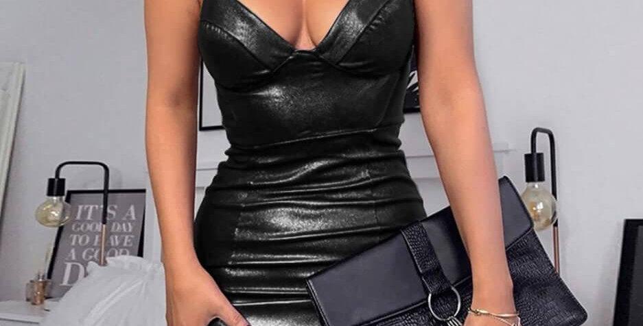 Sexy Leather Strap Fashion Body-con Dress