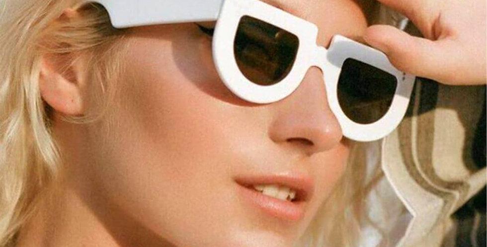 Retro Flat Top White Frame Sunglasses