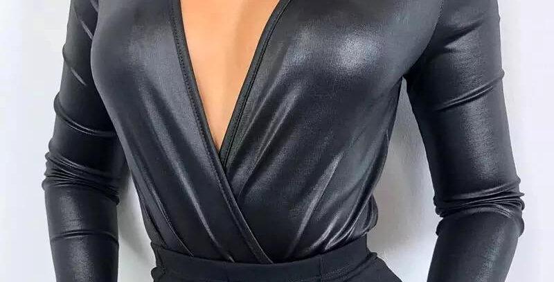 Deep V-Neck PU Leather Black Bodysuit