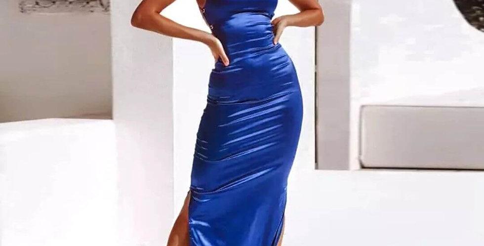 Satin Lace Up Elegant Backless Dress