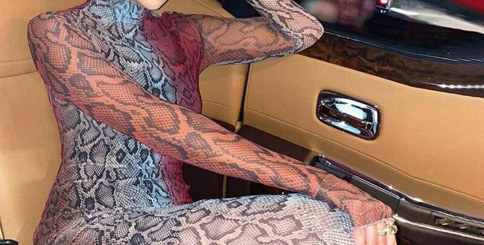 Snakeskin Printed Long Sleeve Maxi Dress