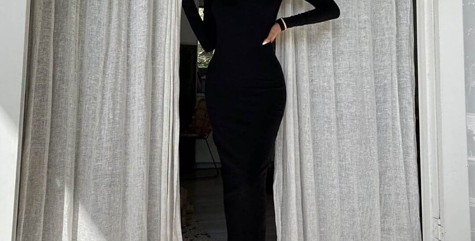 Backless Elegant Cut Out Shoulder Black Dress