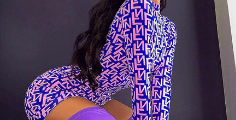 Fashion Letter Print Mini Dress