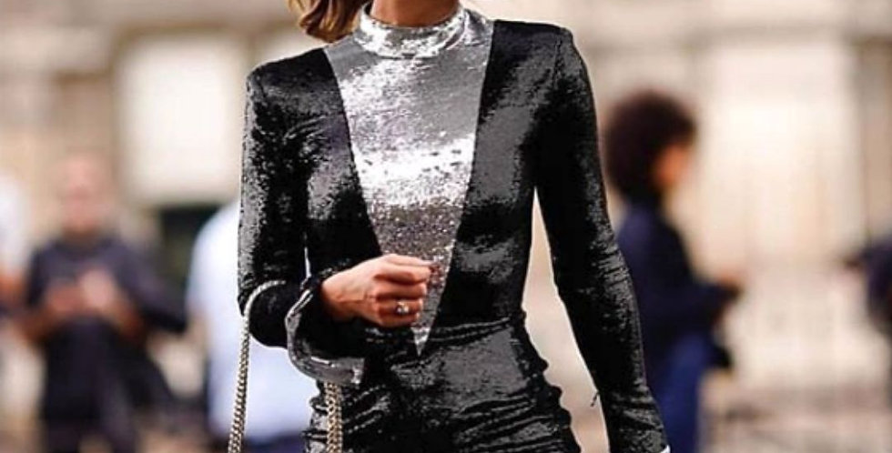 Stylish Turtleneck Black & Silver Dress