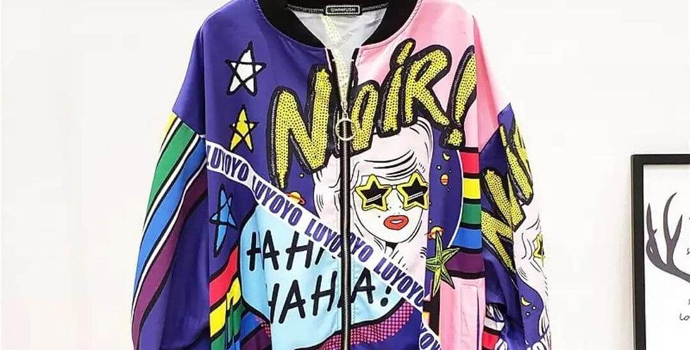 Noir Batwing Zipper Streetwear Jacket