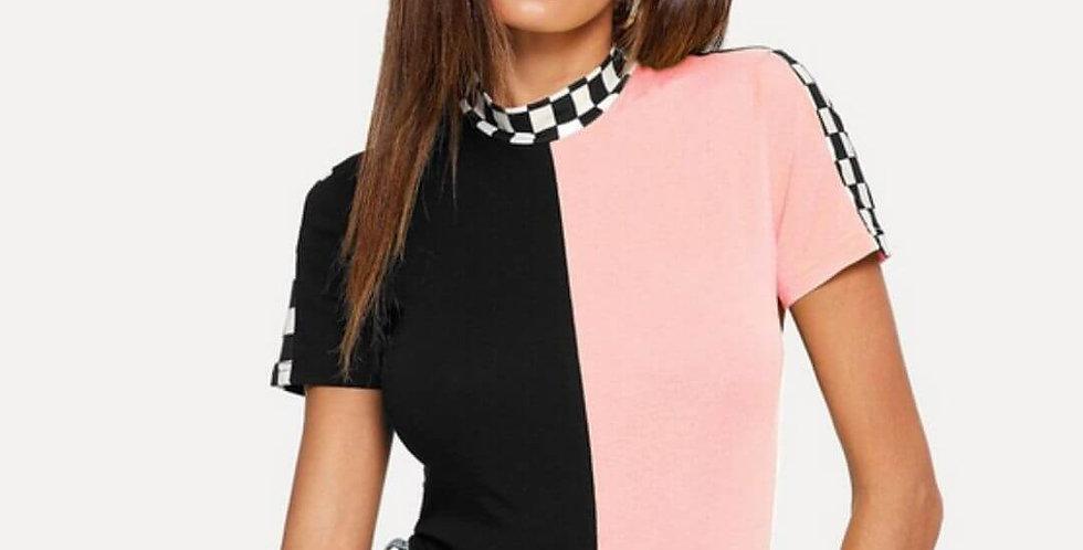 Plaid Colorblock Slim Fit T-Shirt
