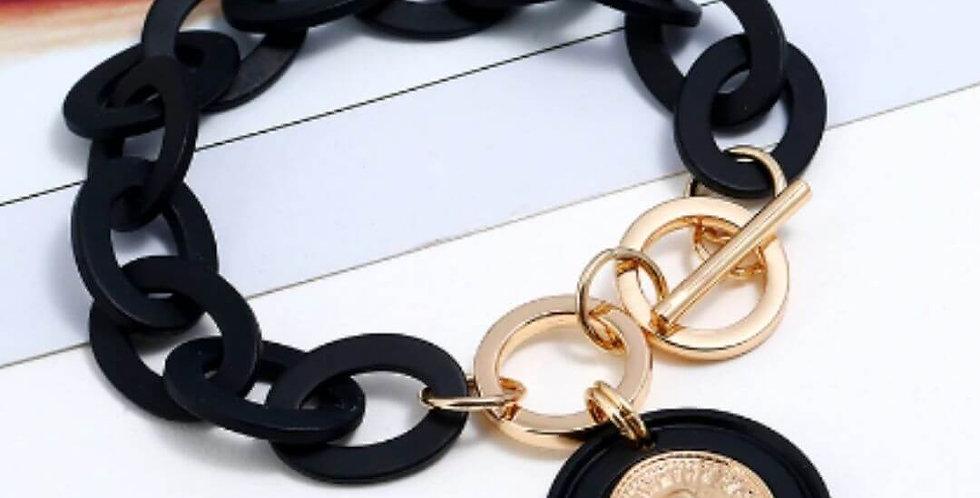 Boho Black Acrylic Link Chain Bracelet