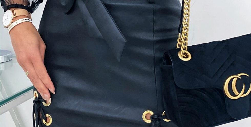 High Waist Lace Up Black PU Leather Mini Skirt