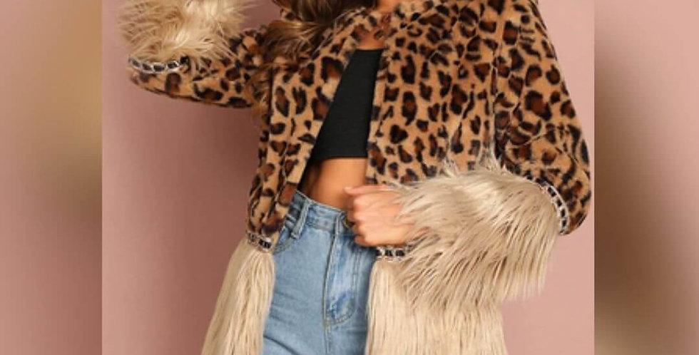 Modern Contrast Faux Fur Leopard Jacket