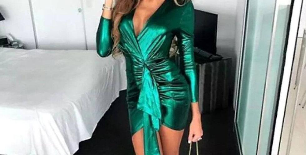 Deep V-Neck Elegant Green Mini Dress