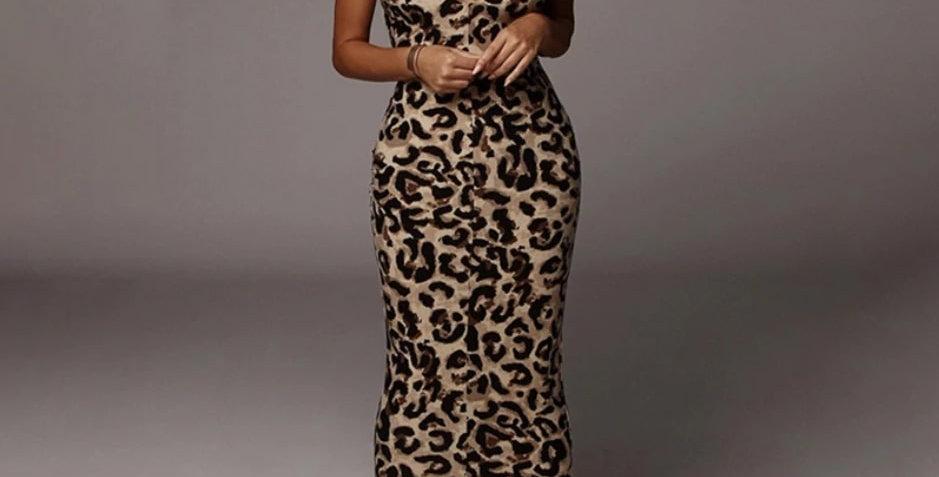 Leopard Thin Spaghetti Straps Elegant Dress