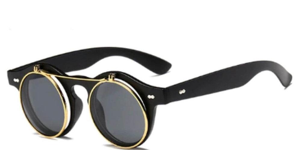 Vintage Round Steampunk Flip Up Sunglasses