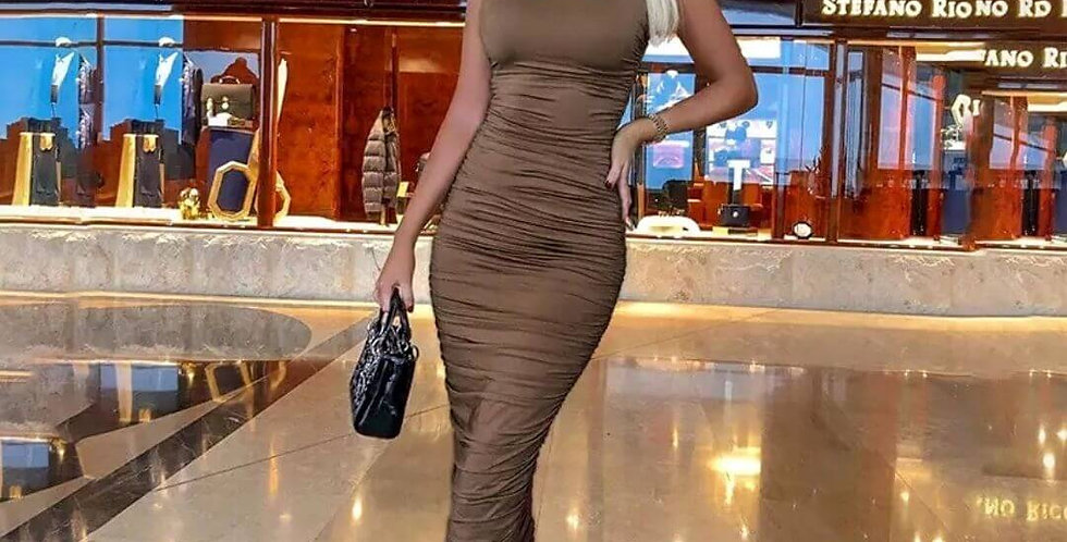 New Brown Ruched Backless Elastic Dress