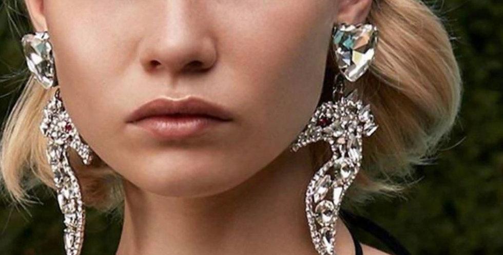Big Seahorse Rhinestone Drop Earrings