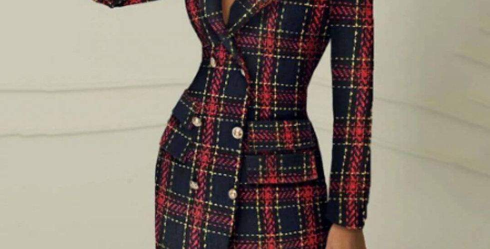 Elegant Red Black Plaid Blazer Dress