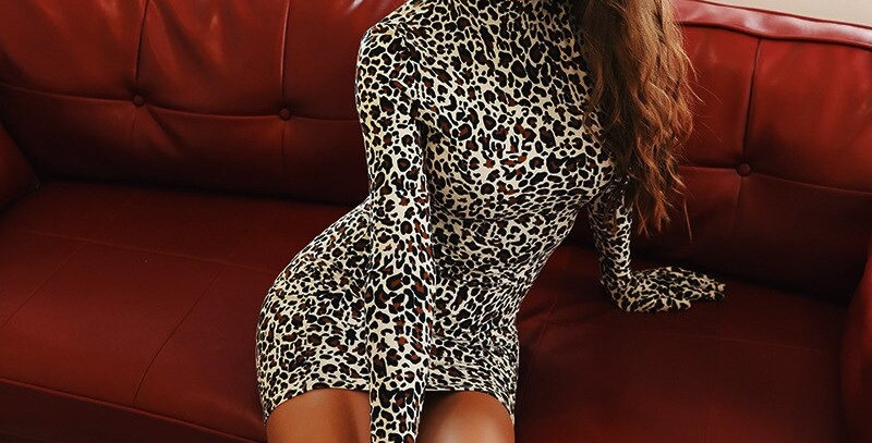 Leopard Printing Bodycon With Gloves Dress