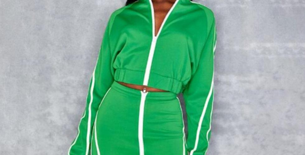New Green Zipper 2 Pieces Tracksuit