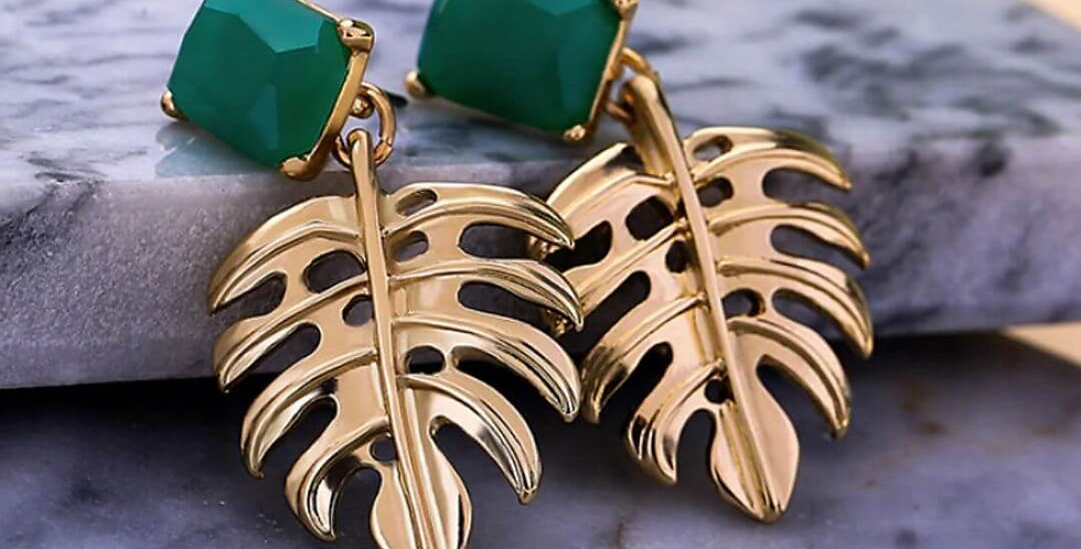 Gold Color Leaf Green Drop Earrings