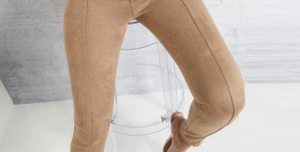 Fashion Belt Buckle Pencil Suede Pant