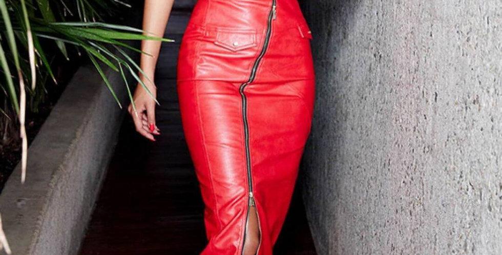 Leather PU Zipper High Waist Red Skirt