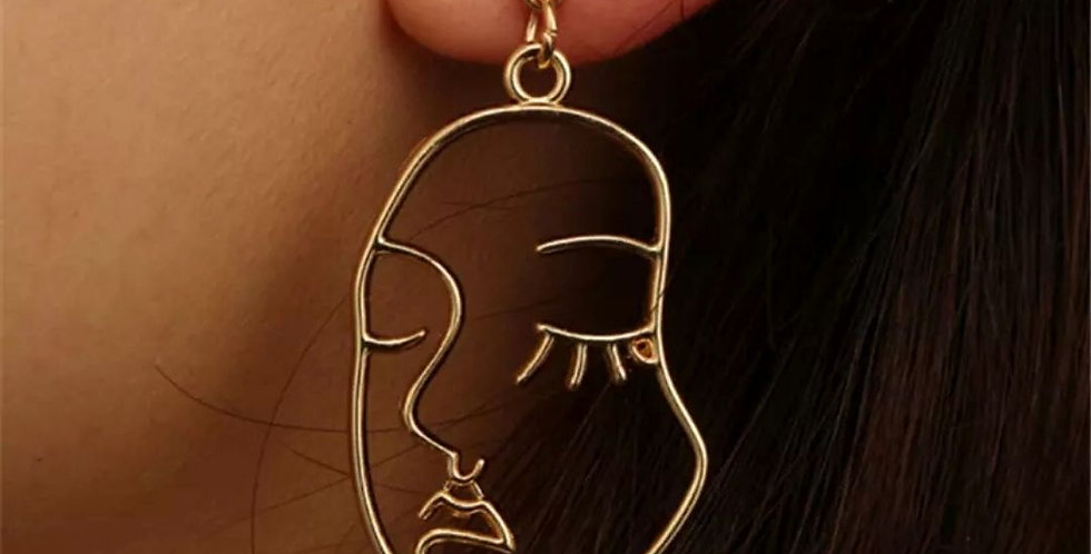 Abstract Design Human Face Earrings