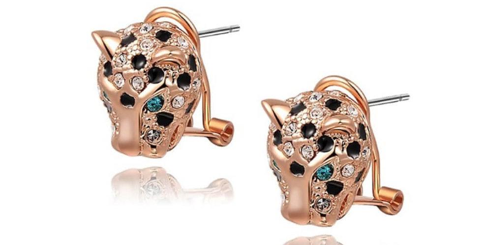 Leopard Head Fox Bee Stud Earrings