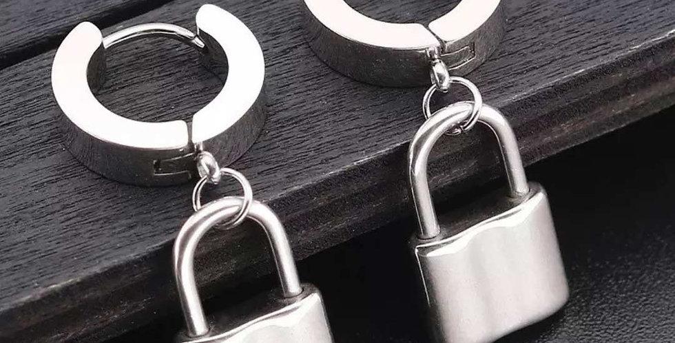 Lock Shaped Stainless Steel Stud Earrings