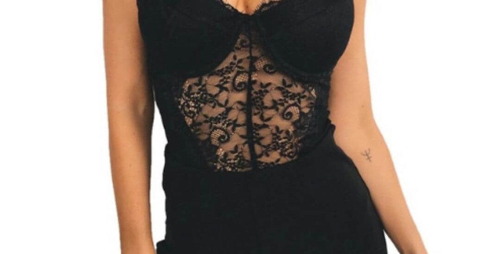 Sexy Backless Lace Black Bodysuit