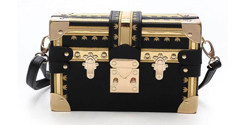 Fashion Box Black & Gold Handbag