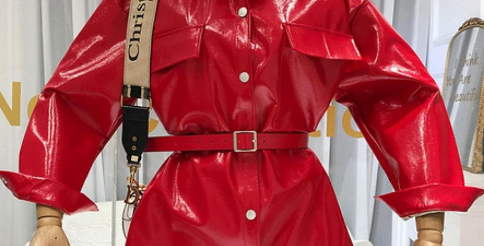 New Designer's Belt-Tied Leather Coat