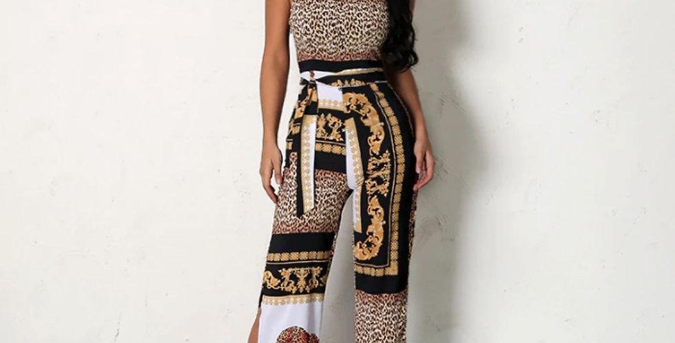 Elegant Leopard Print Jumpsuit