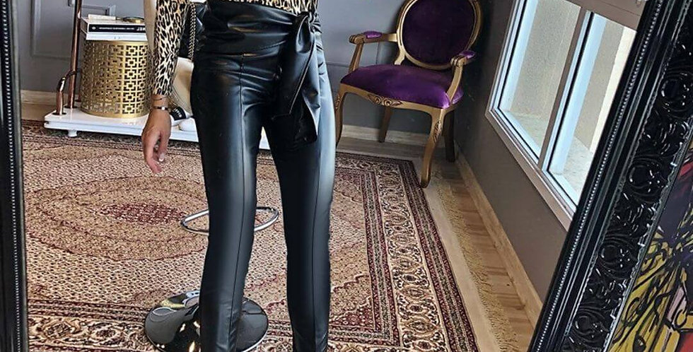 Black Frill Belted Waist PU Leather Pant