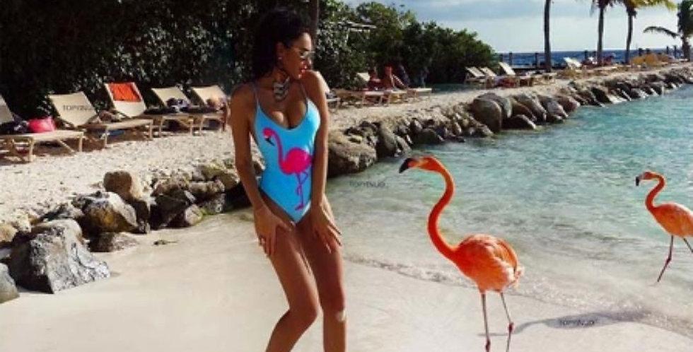 Flamingo Print One Piece Swimsuit